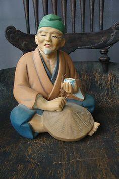 Vintage Hakata Urasaki Fukuoka Handpainted Doll Figure Statue Figurine Japanese