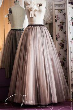 Купить Длинная юбка из фатина Кофе - юбка из фатина, юбка из сетки, юбка пачка