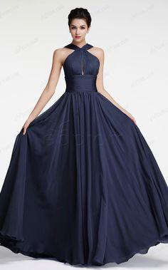 Navy blue prom dresses long halter prom dress