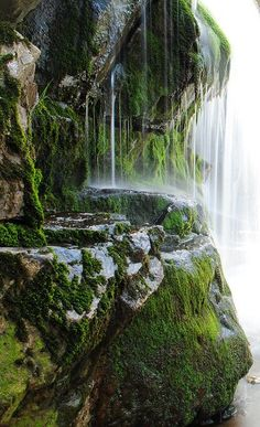 Moss Covered Waterfall, Over The Mineral Springs,