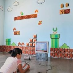 Nintendo Wall Graphics - Super Mario Bros - Love the TV in the picture too ;)