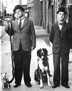 Oliver Hardy & Stan Laurel and Hardy looking a little too serious for such funny guys