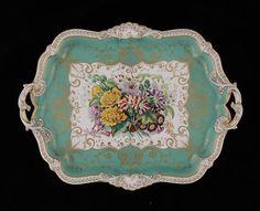 A John Ridgway apple green ground cabaret tray circa 1845