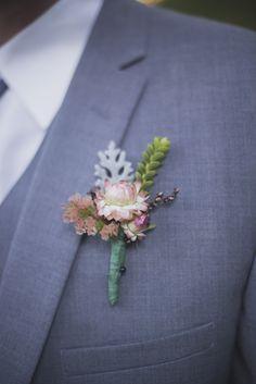 succulent boutonniere for groom #groom #boutonniere #weddingchicks http://www.weddingchicks.com/2014/02/26/fun-and-feisty-forest-wedding/
