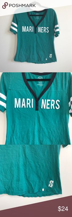 "Vintage Style Seattle Mariners Baseball Top In good used condition. Very thin breathable and stretchy material. Small dethread of fabric as shown in close up picture. Size XL, true to size. Please refer to measurements to ensure a proper fit. Pit to pit: 19"" Length: 24"" forty-seven brand Tops Tees - Short Sleeve"