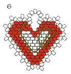 Securing the thread in the seed-bead heart (courtesy of Rings & Things)