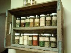 DIY spice rack, old bottle crate .