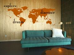 Explore, Dream, Discover the WORLD - Hawaii Inspired Surface Graphics - vinyl wall art  decals sticker by 3rdaveshore  Made in the USA on Etsy, $93.00