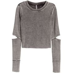 H&M Jersey crop top (€18) ❤ liked on Polyvore featuring tops, sweaters, shirts, h&m, sweatshirts, dark grey, long sleeve jersey, cropped long sleeve shirt, h&m shirts and long sleeve cotton shirts