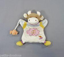 Doudou plat marionnette Vache blanc bonbon Doudou et Compagnie 23 cm