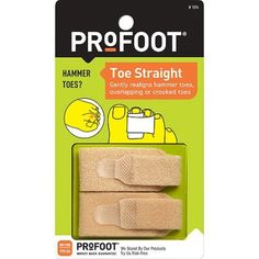 PROFOOT Toe Straight Hammertoe Wrap, 1 Pair: Profoot toe straights gently realign hammer toes, overlapping or crooked toes. Soft cushioning relieves rubbing and irritation on the top of your toes. Wear inside any shoe. Health Tips, Health And Wellness, Health And Beauty, Women's Health, Hammer Toe, Best Amazon Products, Foot Toe, Foot Cream, Hiking Tips