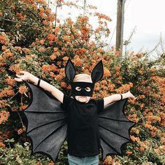 Image may contain: one or more people, outdoor and nature Bat Costume Boy, Bat Halloween Costume, Diy Halloween Costumes For Kids, Halloween 2019, Modern Halloween, Vintage Halloween, Best Kids Costumes, Diy Couture, Autumn