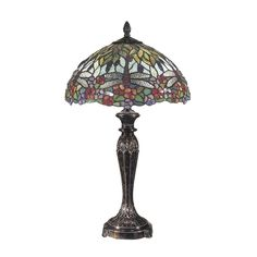 29 Fieldstone Lydia Hand Crafted Glass Tiffany-Style Table Lamp, Bronze