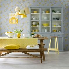 Lemon and dove grey dining room | Yellow and grey decorating ideas | Ideal Home | Housetohome.co.uk