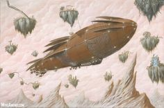 Steampunk Art: The Hanging Gardens 18×12 inch signed limited Giclee on Canvas