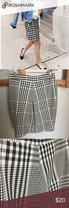 The Limited // Plaid Black & White Skirt Super fun and easy to style for work or the weekend, this gingham skirt pairs with a basic rock tee or white button down. Sits just below your natural waist. Fully lined with a side zipper. First picture is not of actual item, just a styling idea. The Limited Skirts Mini