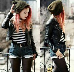 Green beanie, stripes, leather jacket