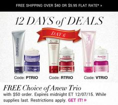 #DEALALERT. 1 DAY ONLY!!  #Free choice of ANEW Trio with $50 order. #Shop now at youravon.com/4me.  Offer ends at midnight 12/7/15.  #Avonrep #AvonHoliday #freegift #holidaysale