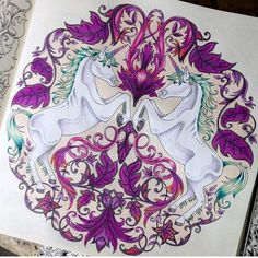 Love the colors by 💜💜💜 Secret Garden Coloring Book, Coloring Book Art, Adult Coloring Pages, Johanna Basford Books, Johanna Basford Coloring Book, Enchanted Forest Coloring Book, Love Doodles, Color Pencil Art, Unicorns