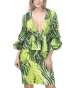 Lime Abstract Ruffle-Accent Peplum Dress