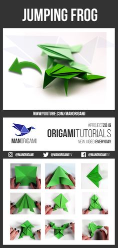 How to make a jumping frog! It's a very cool and easy origami Model When you push the back down the paper frog jumps. Kids really enjoy that cool toy 🤩! Origami Ball, Diy Origami, Useful Origami, Origami Heart, Oragami, Origami Jumping Frog Instructions, Jumping Frog Origami, Origami Easy Step By Step, Easy Origami For Kids