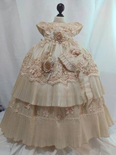 Girl ivory cotton baptism christening gown with detachable skirt, Girl Christening gown, baby girl gown, blessing dress, vestido bautizo Baby Christening Gowns, Baby Dress Design, Baby Bonnets, Crochet Baby Clothes, Elegant Dresses, Designer Dresses, Doll Clothes, Kids Fashion, Ivory