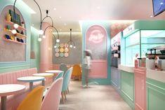 2019 - Restaurant & Bar Design Awards Winner / International Colour Hey Yo (Hong Kong) designed by Design Action & Associates, Winner of… Cafe Shop Design, Bakery Design, Restaurant Interior Design, Shop Interior Design, Home Interior, Retail Design, Bakery Shop Interior, Restaurant Interiors, Design Hotel