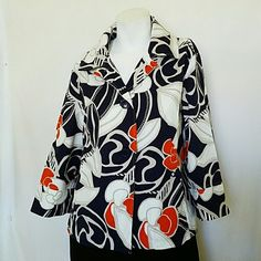 """Chico's Jacket Multicolor Floral Size 1 Small Beautiful  jacket has 3 buttons, wide 3/4 sleeves with cuff. Large flowers with orange accents.   Inverted pleat in the back. 2 pockets on the sides,  has some stretch.  Material - cotton spandex blend.  Measurments - length 23"""";  chest 20"""";  shoulder to shoulder 16 1/2;  sleeves 17 1/2. Chico's Jackets & Coats"""