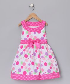 Take a look at this Pink Polka Dot Dress - Toddler & Girls by Longstreet on today! Little Girl Outfits, Little Girl Dresses, Kids Outfits, Girls Dresses, Baby Girl Frocks, Frocks For Girls, Kids Frocks, Fashion Kids, Baby Girl Frock Design