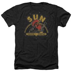 New Authentic Mens Sun Records Rockin Rooster Heathered Tee Shirt Sizes S-2XL #GraphicTee