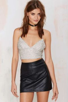 Glamorous Bae Watch Sequin Crop Top