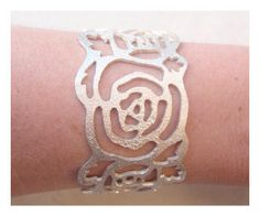 Sparkling Rose Cuff  Sterling Silver 925 by BlackStarSA on Etsy, $200.00 African Jewelry, Sparkle, Sterling Silver, Trending Outfits, Rose, Unique Jewelry, Handmade Gifts, Accessories, Vintage