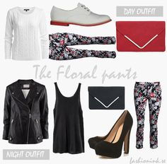 Day and night outfits based on the floral pants