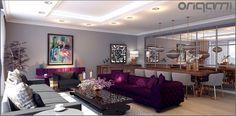 Koru Florya Salon Tasarımı : Eklektik Oturma Odası Origami Mobilya