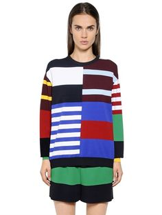 STELLA MCCARTNEY - PATCHWORK STRIPES VISCOSE BLEND SWEATER - COLOR BLOCK LONG SLEEVE PULLOVER