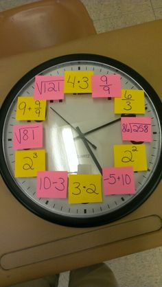 The clock for my 6/8 grade math classroom. I'm able to change it as the year goes on. I love it!