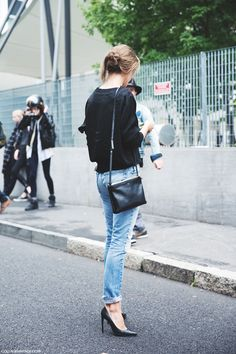 simple chique: classic jeans, classic black wool sweater, classic heels, classic purse