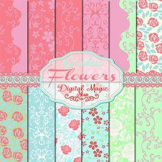 12 Garden Flower Digital Papers Pack in pink by DigitalMagicShop, $2.00