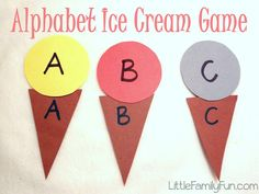 Alphabet Ice Cream Cones. ABC activity for preschoolers.