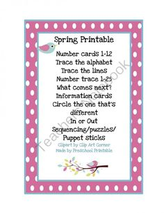 Spring Printable 1 from Preschool Printables on TeachersNotebook.com -  (17 pages)  - Printable: The activities in this pack are designed to have fun while the child learns a variety of preschool concepts including number, color, patterns, sequence, size, letters and more.