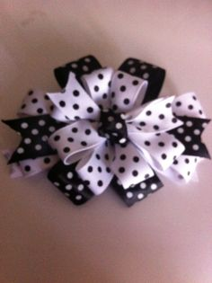 Black and white Polk- a-dot bow- Bows by Denise