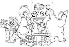 Cookie Monster Learning With Friends Coloring Pages - Cookie Monster cartoon coloring pages