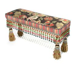 Hooks, Brackets & Curtain Rods Architectural & Garden Authentic 1983 Mackenzie-childs Ltd Long Tassel Bench Porcelain & Upholstered Distinctive For Its Traditional Properties