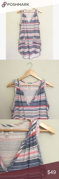 """Anthropologie Porrdige Striped Denim Shift Dress This lovely shift dress has frayed edges with slight hi-lo hem. Lightweight cotton denim with large pockets on the front of the skirt. 34"""" long front, 38"""" back. 19"""" pit to pit. No trades, offers welcome! Anthropologie Dresses"""