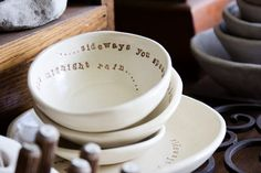 I love the idea. A simple bowl with an inspiring quote inside.