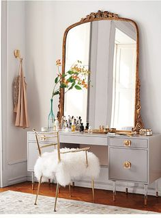 Obsessed with this make-shift vanity!!! Anthropologie | 2016 Spring Home Lookbook | Inspired R&R