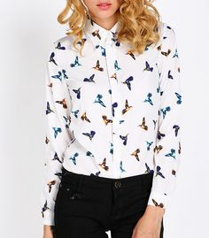Buy women's autumn bird chiffon printing lapel long sleeve casual shirt blouse top from newdress,enjoy discount shopping and fast delivery now. Chiffon, Shirt Blouses, T Shirt, Discount Shopping, New Dress, Casual Shirts, Autumn, Prints, Collection