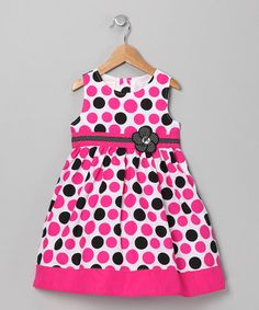 Take a look at this Pink & Black Polka Dot Flower Dress - Infant by Longstreet on #zulily today!