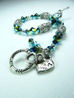 DeBella Swarovski Bracelet  Go Green by cissdena on Etsy, $26.00