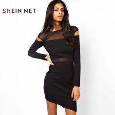 Sheinnet Осень Новый модные, пикантные одноцветное платье Для женщин шить Длинные рукава асимметрия стрейч однотонные черные узкие платье Женский #women's_dresses #stylish_dresses #cashback #style #fashion